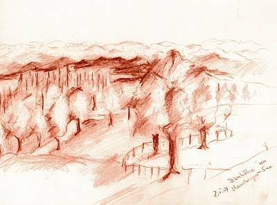 Bayern Drawing - Bavarian Landscape by Karina Plachetka