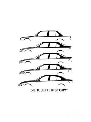 Bavarian Three Sedan Silhouettehistory Art Print by Gabor Vida