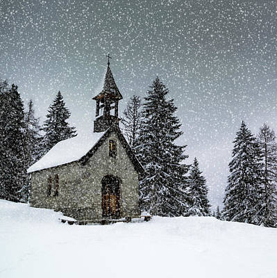 Vignette Digital Art - Bavarian Winter's Tale Anna Chapel by Melanie Viola