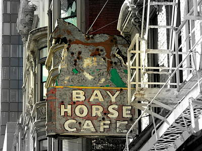 Photograph - Bay Horse Cafe Sign  by Kathy Barney