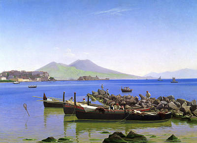 Danish Painting - Bay Of Naples by Christen Kobke