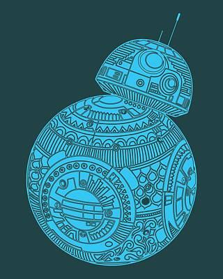 Movie Star Mixed Media - Bb8 Droid - Star Wars Art, Blue by Studio Grafiikka