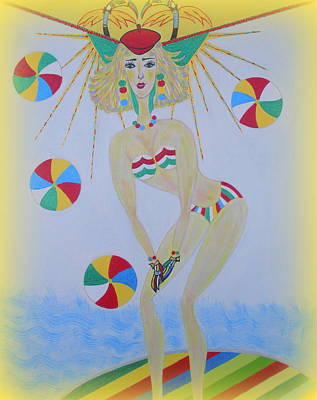 Painting - Beach Ball Surfer by Marie Schwarzer