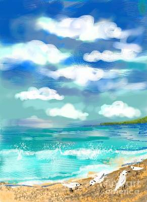 Digital Art - Beach Birds by Elaine Lanoue