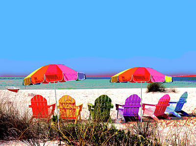 Mixed Media - Beach Chairs by Charles Shoup