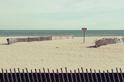 Beach Closed Sign At Point Pleasant Art Print by Erin Cadigan