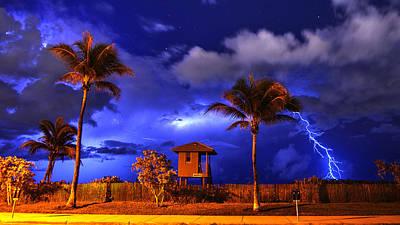 Photograph - Beach Lightning by Lawrence S Richardson Jr