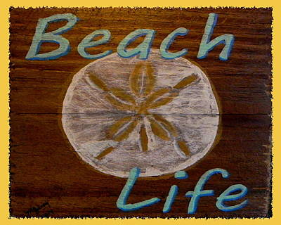 Summer Fun Painting - Beach Sign by M Gilroy