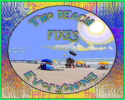 Beach Sign Art Print by W Gilroy