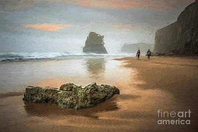 Digital Art - Beach Stroll by Howard Ferrier
