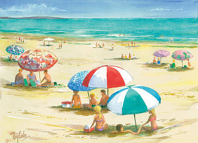 Ray Cole Painting - Beach Umbrellas by Ray Cole