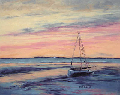 Cape Cod Painting - Beached At Sunset by Lisa H Ridabock