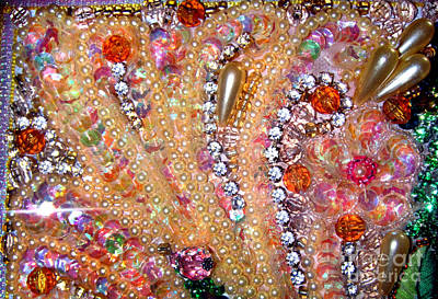 Bead Embroidery Mixed Media - Beadwork Art, Jeweled Bead Embroidery by Sofia Metal Queen