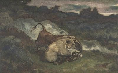 Drawing - Bear Killing A Bull by Antoine-Louis Barye