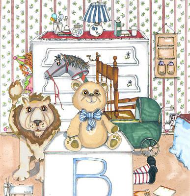 Bear On Block Art Print by Susan Nelson