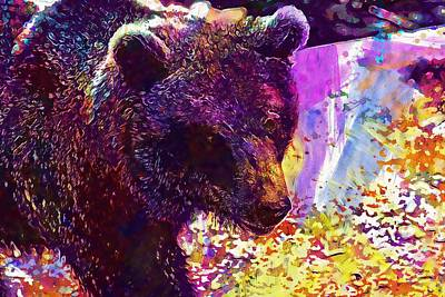 Digital Art - Bear Predator Zoo Fur Animal  by PixBreak Art