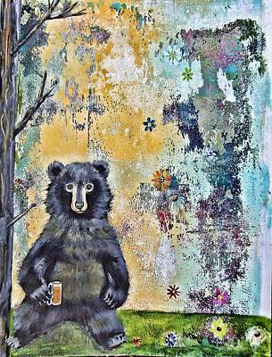 Wall Art - Painting - Bear With Beer by Carol Iyer