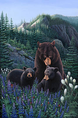Bears On Snow Peak Painting Original