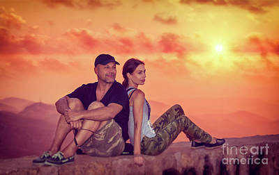 Photograph - Beautiful Couple Enjoying Sunset by Anna Om
