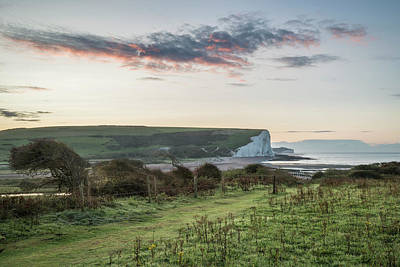 Aloha For Days - Beautiful dawn landscape of Seven Sisters cliffs landmark on Eng by Matthew Gibson