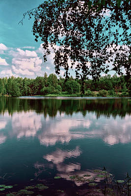 Photograph - beautiful forest lake in Sunny summer day by George Westermak
