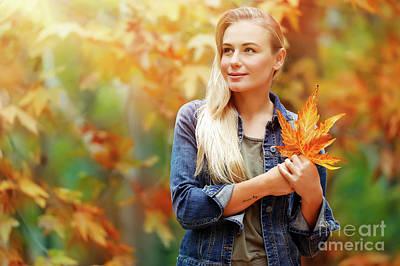 Photograph - Beautiful Girl Enjoying Autumn Holidays by Anna Om