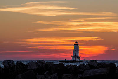 Marquette Photograph - Beautiful Ludington Lighthouse Sunset by Adam Romanowicz