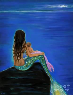 Painting - Beautiful Mermaid Baby by Leslie Allen