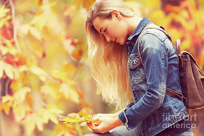 Photograph - Beautiful Model In Autumn Park by Anna Om