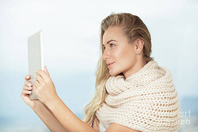 Photograph - Beautiful Student Girl With Tablet by Anna Om