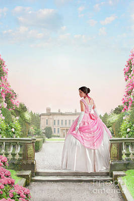 Photograph - Beautiful Victorian Woman In The Garden by Lee Avison