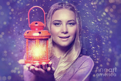 Photograph - Beautiful Woman With Glowing Lantern by Anna Om
