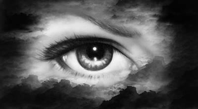 Healthcare And Medicine Painting - Beautiful Women Eye Painting In Cloud Sky Effect Black And White Retro Style by Jozef Klopacka