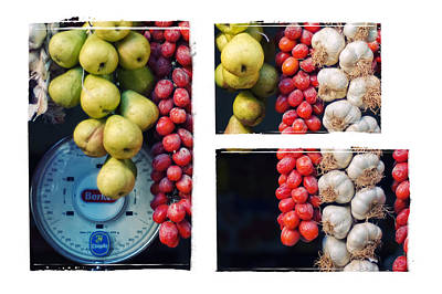Beauty In Tomatoes Garlic And Pears Triptych Art Print by Silvia Ganora