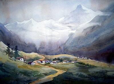 Beauty Of Himalayan Village Art Print