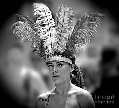 Tattoo Photograph - Beauty With A Feathered Headdress II by Jim Fitzpatrick