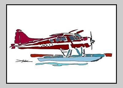 Dock Drawing - Beaver At Dock by Arlon Rosenoff