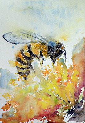 Spring Flowers Painting - Bee by Kovacs Anna Brigitta