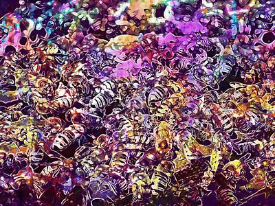 Digital Art - Bees Beehive Beekeeping Honey Busy  by PixBreak Art