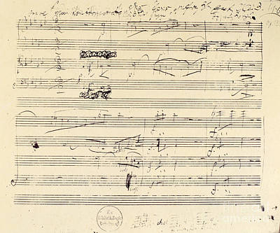 Beethoven Photograph - Beethoven Manuscript, 1826 by Granger