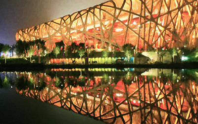 Olympic National Park Painting - Beijing National Stadium by Jeelan Clark