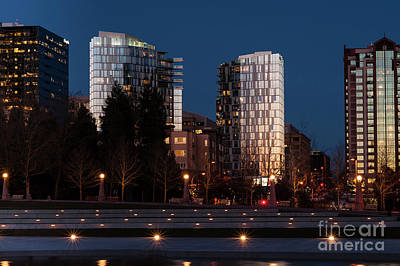 Photograph - Bellevue Skyline With City Lights  by Jim Corwin
