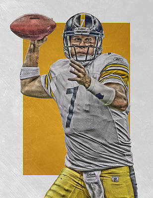 Nfl Mixed Media - Ben Roethlisberger Pittsburgh Steelers Art by Joe Hamilton