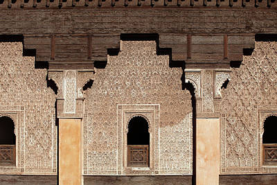Madrasa Photograph - Ben Youssef Madrasa, Wall In The Patio by Aivar Mikko