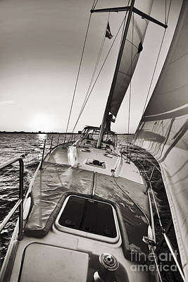 Beneteau 49 Sailing Yacht Close Hauled Charleston Sunset Sailboat Print by Dustin K Ryan