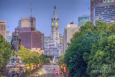 Photograph - Benjamin Franklin Parkway City Hall by David Zanzinger