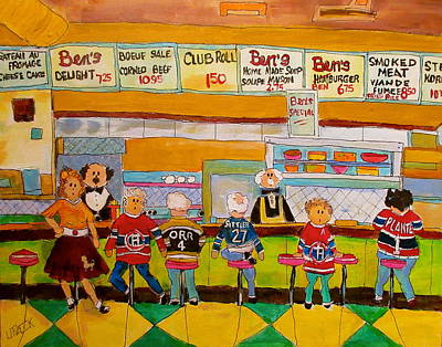 Litvack Painting - Ben's  Restaurant Montreal Memories by Michael Litvack