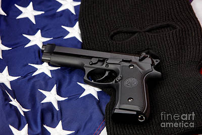 Beretta Handgun Lying On Balaclava And United States Of America Flag Art Print by Joe Fox