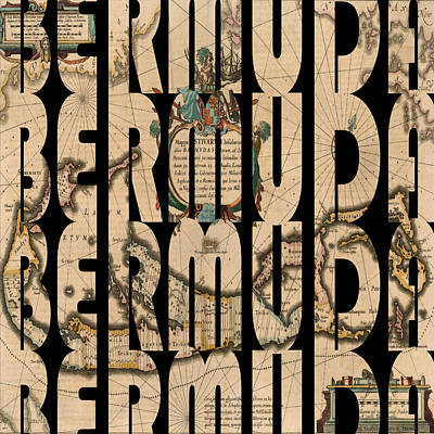 Typography Map Photograph - Bermuda 1662 by Andrew Fare