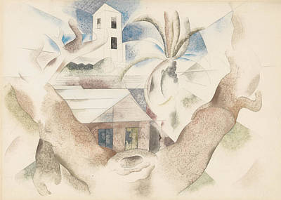 Drawing - Bermuda No. 1, Tree And House by Charles Demuth